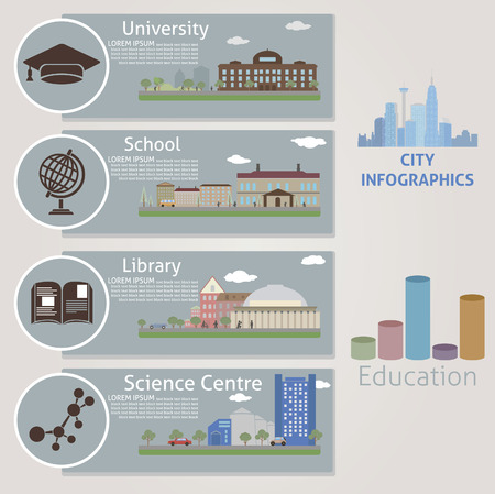 studying: City  Education  Vector for you design Illustration