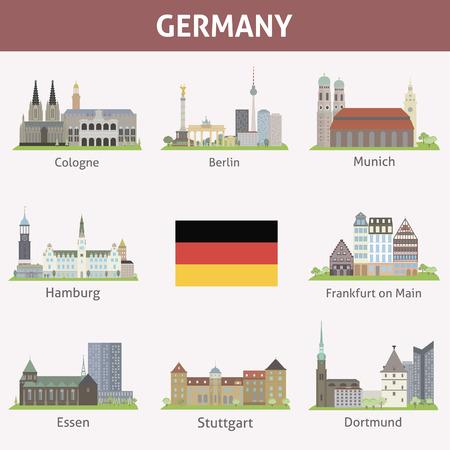 Duitsland Symbolen van steden Vector set Stock Illustratie