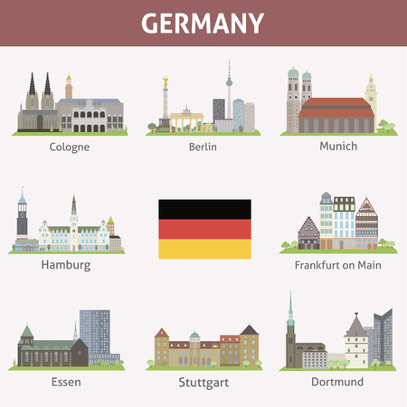 stuttgart: Germany  Symbols of cities  Vector set
