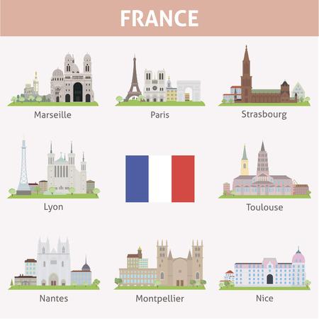 Francia Símbolos de ciudades Conjunto del vector Foto de archivo - 26039130