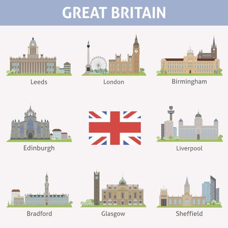 UK  Symbols of cities  Vector set