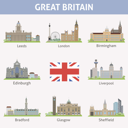 leeds: UK  Symbols of cities  Vector set