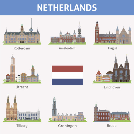 Nederland Symbolen van steden Vector set Stock Illustratie