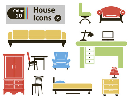 furniture computer: House icons  Vector set for you design