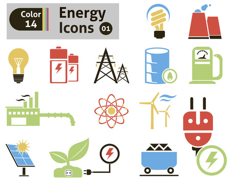 nuclear reactor: Energy icons  Vector set for you design