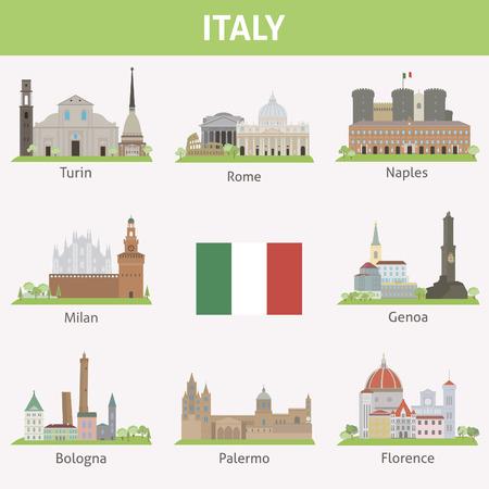 Italy  Symbols of cities  Vector set Illustration