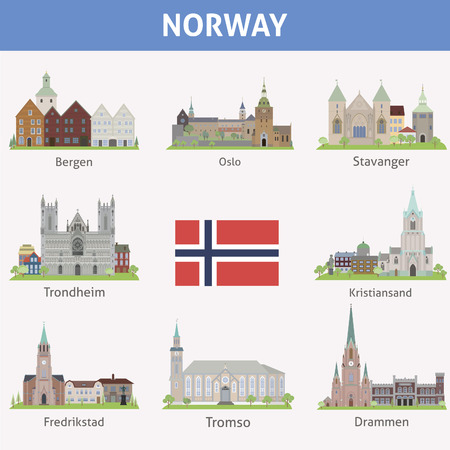 fredrikstad: Norway  Symbols of cities  Vector set