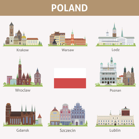 Poland  Symbols of cities  Vector set Illustration