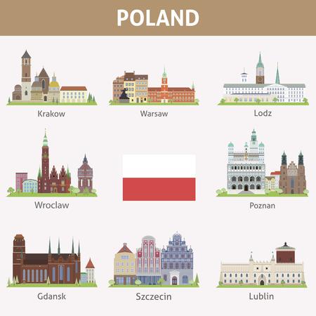 Poland  Symbols of cities  Vector set Illustration