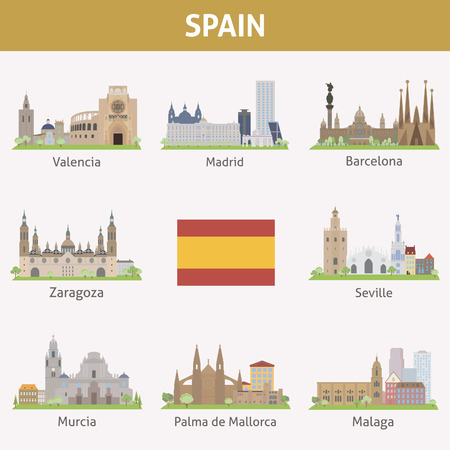 Spain  Symbols of cities  Vector set Illustration
