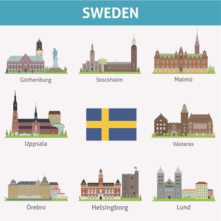 Sweden  Symbols of cities  Vector set