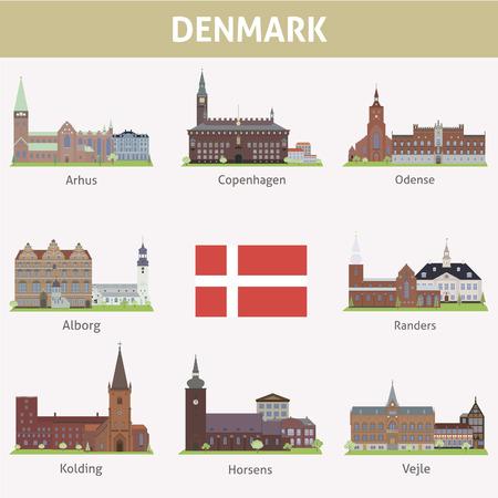 Denemarken Symbolen van steden Vector set