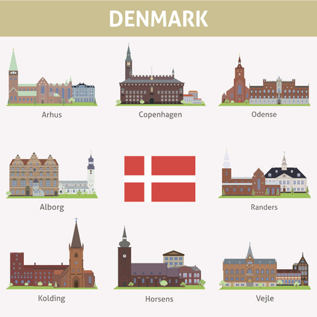 Denmark  Symbols of cities  Vector set