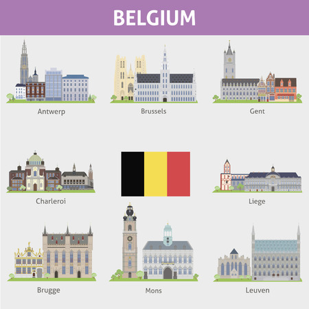 Belgium  Symbols of cities  Vector set Illustration