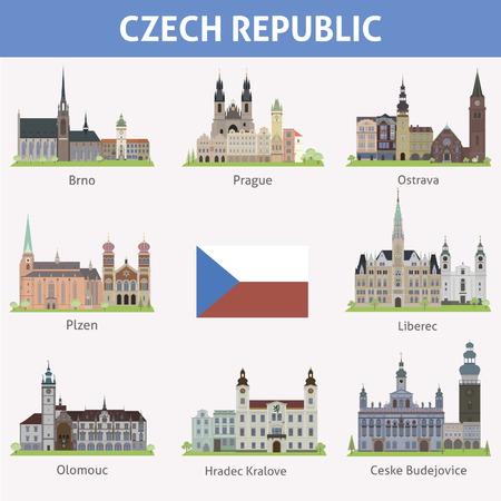 Czech republic  Symbols of cities  Vector set