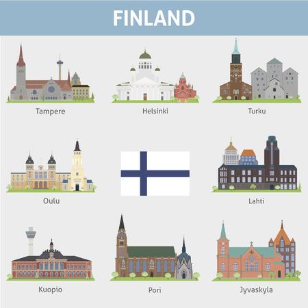 Símbolos Finlandia de ciudades Vector conjunto Foto de archivo - 26619657