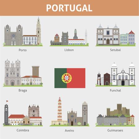 ポルトガル都市のシンボル ベクトルを設定  イラスト・ベクター素材