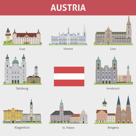 オーストリアの都市のシンボル ベクトルを設定  イラスト・ベクター素材