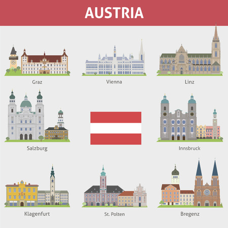 Austria  Symbols of cities  Vector set