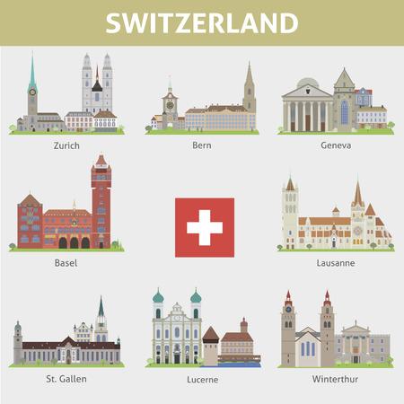 Switzerland  Symbols of cities  Vector set Illustration
