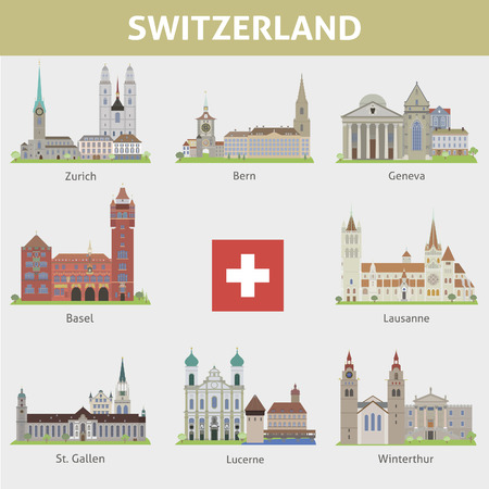 Switzerland  Symbols of cities  Vector set Illustration