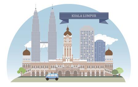 mimari ve binalar: Kuala Lumpur, tasarım için Malezya Vektör Çizim
