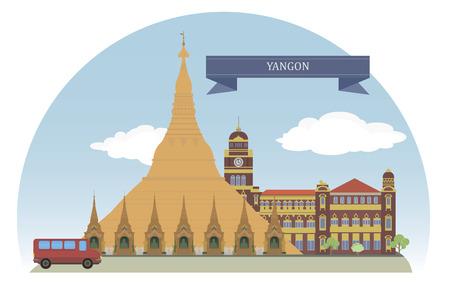 Yangon, Myanmar  For you design Vector