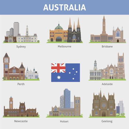 Australia  Symbols of cities  Vector set