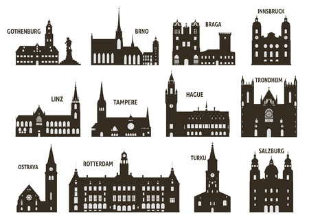 Silhouettes of cities  Set for you design