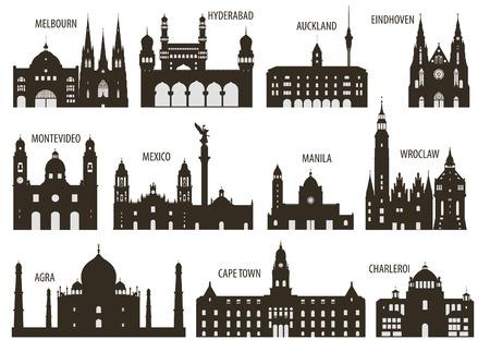 あなたのデザインのための都市セットのシルエット 写真素材 - 29494807