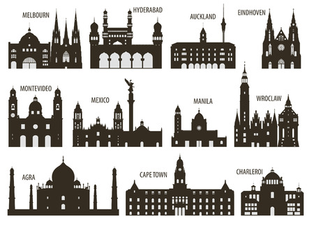 mexico: Silhouettes of cities  Set for you design