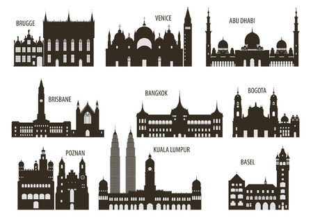 malaysia: Silhouettes of cities  Set for you design