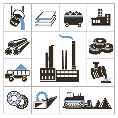 steel industry: Heavy industry icons  For you design Illustration