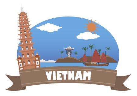 당신이 디자인을 위해 베트남 관광 및 여행 일러스트