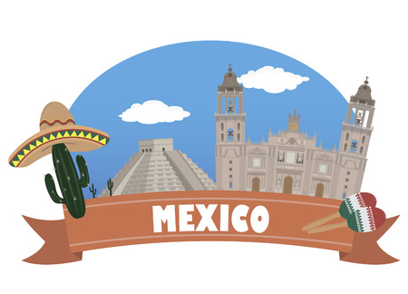 mexico city: Mexico  Tourism and travel Illustration