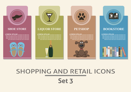 petshop: Shopping and retail  labels  Set for you design Illustration