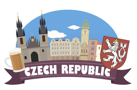 beer house: Czech republic  Tourism and travel Illustration