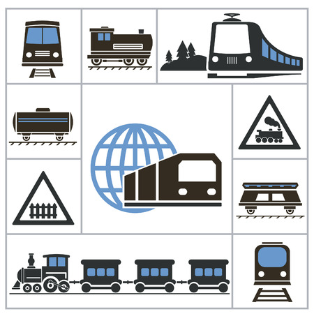 high speed railway: Railway. Set icons for you design