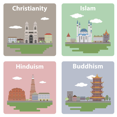 hindu temple: Set elements of infographics for your design