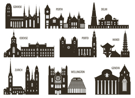 Silhouettes of cities. Set for you design Illustration