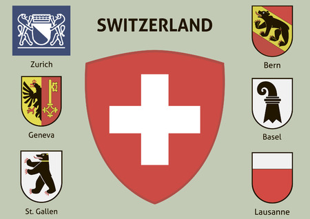 coat of arms  shield: Coat of arms. Cities of Switzerland Illustration