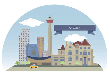 Calgary. City in the province of Alberta, Canada Vector