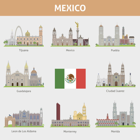 mexico: Cities in Mexico. Vector set for you design