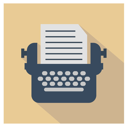 Typewriter icon. Modern flat icons vector with typewriter in retro style