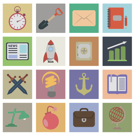 Set flat icons. 16 vector icons for your design Vector