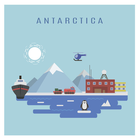 polar station: Antarctic landscape vector: Research Station, an icebreaker and a penguin Illustration
