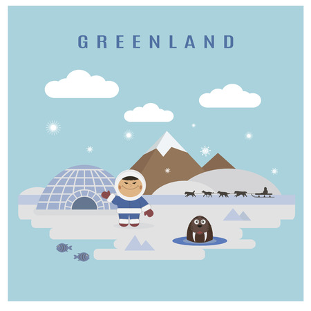 igloo: Greenland landscape flat vector: eskimo man and walrus Illustration
