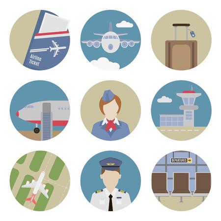 icone tonde: Icone piane Aeroporto. Set di icone rotonde