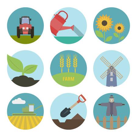 labranza: Iconos planos Granja. Conjunto de iconos redondos