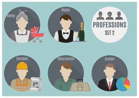 Personas profesión. Conjunto 2. iconos de estilo Piso en círculos Foto de archivo - 35147378